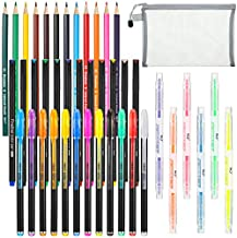 43 Pieces Bible Journaling Planner Pen Supplies Kit Colored Thin Point Markers Colored Pencils Glitter Pens Double Highlighters Pens Storage Bag for Bible Study Coloring Book Crafting Doodling Drawing