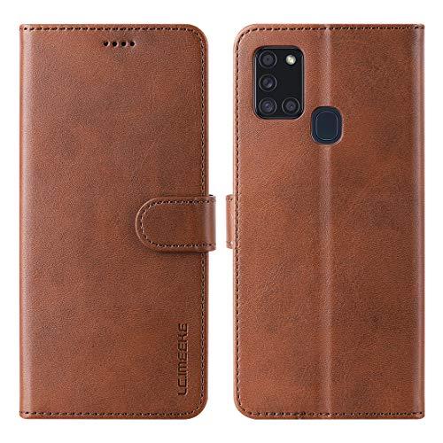 FUNMAX+ für Samsung Galaxy A21s Hülle, PU Leder Handyhülle mit 3 Kartenfächer, Schutzhülle Hülle Tasche Magnetverschluss Flip Cover Stoßfest für A21s 6.5''(Braun)