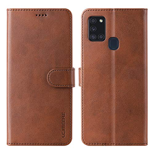 FUNMAX+ für Samsung Galaxy A21s Hülle, PU Leder Handyhülle mit 3 Kartenfächer, Schutzhülle Case Tasche Magnetverschluss Flip Cover Stoßfest für A21s 6.5''(Braun)