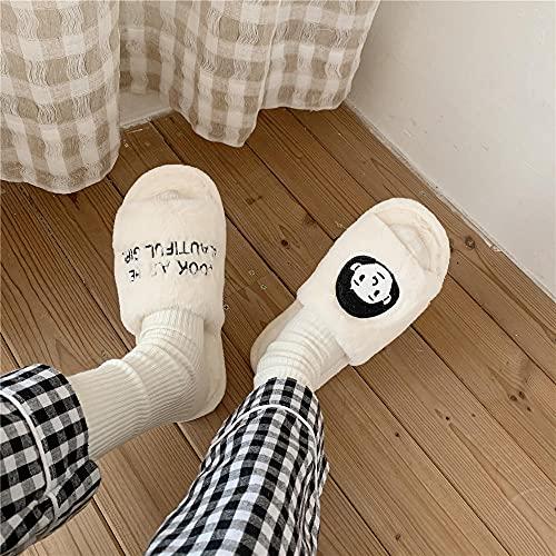dihui Zapatillas Peluche Mujer,Zapatillas de algodón de otoño e Invierno, Zapatillas de algodón de Palabras de Peluche-Muchacha_36-37,Zapatillas de Algodón con Memoria