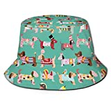 N\C Packable Reversible Black Printed Fisherman Bucket Sun Hat Abstract Puppy Pattern with Human Clothing Fun Dress Up Theme Domestic Animals Hat