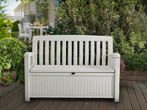Koll-Living Gartenbank/Aufbewahrungsbox/Auflagenbox Farbe Weiß - 227 Liter - Deckel belastbar bis 272 KG - Belüfteter Innenraum - kein übler Geruch oder Schimmel - Modell 2020 - 2