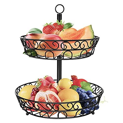 peinat Obstkorb, Früchtekorb, Dekorativer Obst Etagere 2 Stöckig, Fruit Basket, Platzsparend Obstschale Metall mit Installationswerkzeug für Obst zu Hause, im Büro Oder im Hotel
