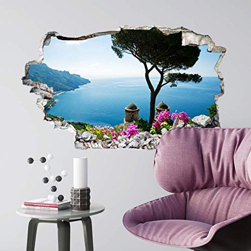 Ocean wall stickers beach holiday wallpaper removable wall decals stone effect 3D wall art 60x36 cm