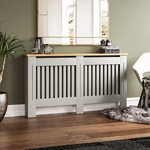 Vida Designs Arlington Radiator Cover Grey Modern Painted MDF Cabinet, Slats, Grill, Wood Top Shelf, Large