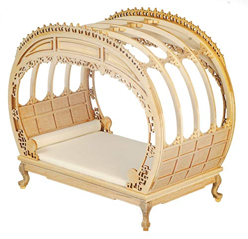 Melody Jane Dollhouse Rococo Chippendale Double Bed Bare Wood JBM Bedroom Furniture 1:12