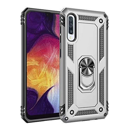 Jubyi - Carcasa para Samsung Galaxy A51-5G, rotación de 360 grados, soporte magnético para coche, protección contra golpes, resistente a los arañazos, doble capa plata Talla única