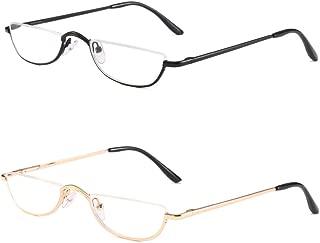 VISENG Half Frame Reading Glasses for Women Men Slim Half Moon Lens Readers Metal 2 Pack Semi Rimless Eyewear+2.0