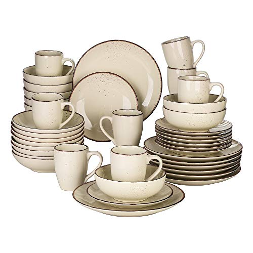 vancasso, Série Navia, Service de Table en Céraimique,40 Pièces pour 8 Personnes avec Assiette Creuse, Faïence Style Moderne