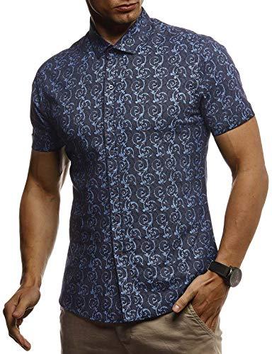 Leif Nelson Herren Hemd Kurzarm Slim Fit T-Shirt Kentkragen Stylisches Männer Freizeithemd Stretch Kurzarmhemd Jungen Basic Shirt Freizeit Sweater Sommerhemd LN3755 Blau Large