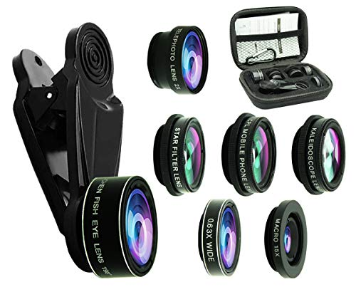 8 in 1 Phone Camera Lens Kit, 0.63Wide Angle Lens+15X Macro+198°Fisheye+2X Telephoto+Kaleidoscope+CPL/Starlight/Universal Clip, Zoom Compatible with iPhone Samsung Smartphones (Black)