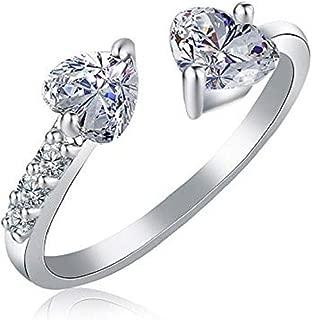 Noopvan 1 Pcs Stylish Diamond Zircon Ladies Silver Ring Elegant Double Heart Crystal Adjustable Open Ring Wedding Jewelry for Women (Silver)