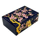 HAIHF Lacquerware Jewellery Box, Chinese Storage Box, Plum Vintage Jewellery Box, Lacquered Wooden Purple Mirrored Jewellery Trinket Keepsake Treasure Gift Box