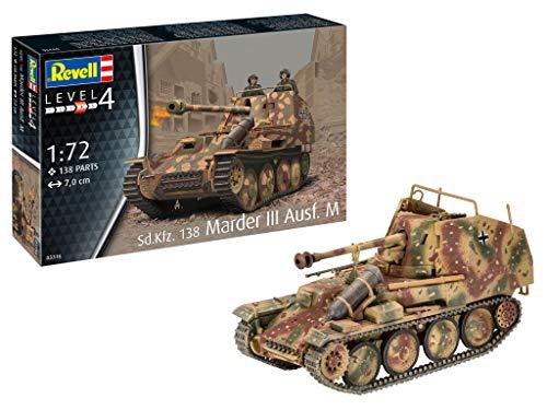 Revell 03316 Sd.Kfz. 138 Marder III AUSF. M originalgetreuer Modellbausatz für Fortgeschrittene, unlackiert