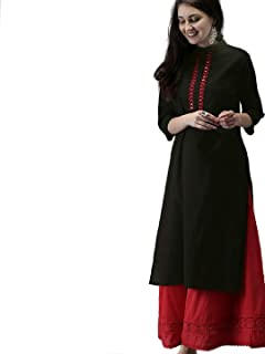AnjuShree Choice Women Stitched Black Rayon Straight Kurti Kurta