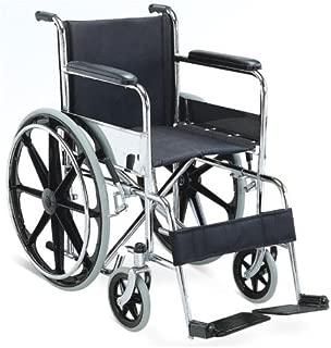 KosmoCare Dura Rexine Mag Wheel Regular Foldable Wheelchair with Safety Belt