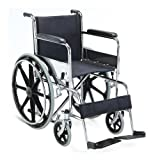 KosmoCare Dura Rexine Mag Wheel Regular Foldable Wheelchair with Safety Belt