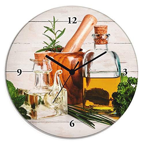 Artland Wanduhr ohne Tickgeräusche aus Glas Quarzuhr Ø 30 cm Rund Lautlos Kräuter Gewürze Olivenöl Holzoptik Shabby Chic T5MO
