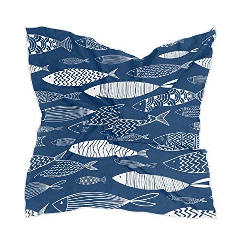 Bufanda náutica de seda para mujer, grande, cuadrada, para la cabeza