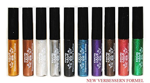 Diamant-Glitter & Shimmer Style 10 Stück Liquid Eyeliner Lidschatten Color Set