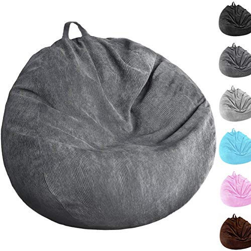 Kisoy Bean Bag Chair Cover (No Filler) Washable Ultra Soft Corduroy Sturdy Zipper Beanbag Cover for Organizing Plush Toys or Textile, Sack Bean Bag for Adults,Kids,Teens