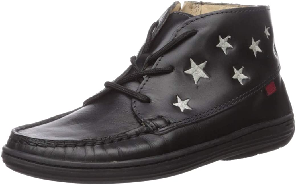 MARC JOSEPH NEW YORK Unisex-Child Leather Ankle Boot Embroidered Star Detail Loafer
