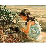 hetingyue DIY Pintar por númerosPintura al óleo DIY para niños, Gatos y Chicas de Playa, Pintura Digital de Adultos y niños, Pintura sin Marco Pintada a Mano 40X50CM