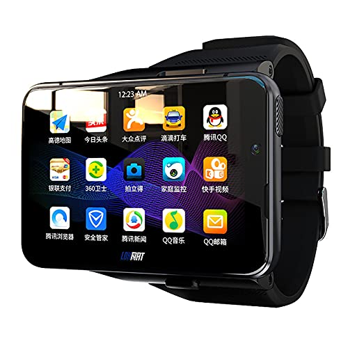 Teléfono Con Reloj Inteligente 4G/LTE Android Desbloquear Cara CPU De 8 Núcleos 4GB+64GB 2.88 'Pantalla HD 13MP+5MP Cámara Dual 2300Mah IP65 Impermeable Wifi Bluetooth Frecuencia Cardíaca GPS,Negro