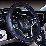 Istn Mikrofaser Leder Auto Lenkradbezug 38cm für die meisten Autos (Weinrot)