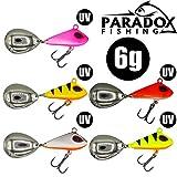 Paradox Fishing Jig Spinner 5er 6g Set Spin Jig zum Barsch Angeln Barsch Köder Zander Köder Hecht Köder Bleikopfspinner Spinnerbait Spinnköder Spin Jigs Spinner Jigs Tailspinner (6g)