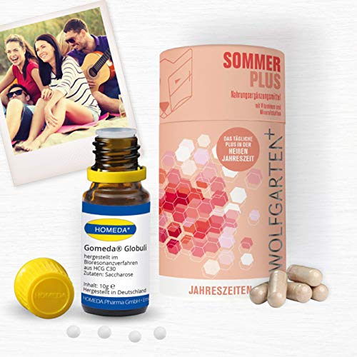 HOMEDA GOMEDA Sommer Set • hCG-Globuli und Kapseln • Globuli und Nahrungsergänzungsmittel inkl. Vitaminen und Mineralstoffen