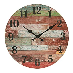 Stonebriar Rustic 12 Inch Round Wooden Wall Clock,...