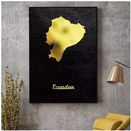 HDKSA Goldene Karte Ecuador Leinwand Malerei Kunstdruck Poster Bild Wand Modern Minimalistisches Schlafzimmer Wohnzimmer Dekoration-50X75CMx1 ungerahmt