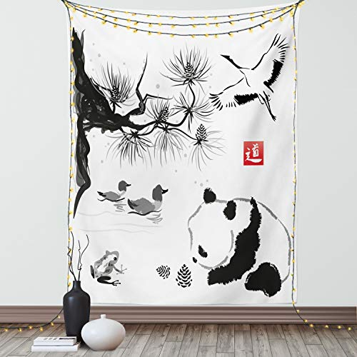 Ambesonne Asiático Tapiz de Pared, Pájaro de la Grúa de la Panda de Los Patos de la Rana, para el Dormitorio Apto Lavadora y Secadora Estampado Digital, 40' X 60', Negro Rojo...