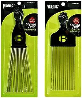 Afro Hair Pick Extra Large Long Black Fist Long Metal Pik Fan Metal Pik (B-2407) (2411)
