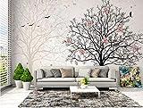 MIYCOLOR Fonds d'écran stéréo fleur ombrage grand arbre silhouette TV fond d'écran décoration de la maison murale 3d papier peint, 430x300 cm (169.3 by 118.68 in)