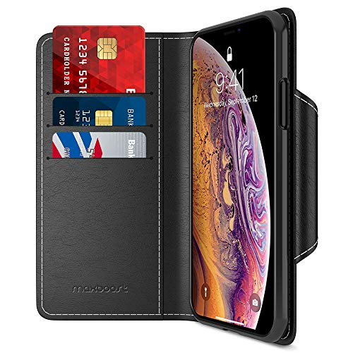 Maxboost Wallet Case Designed for Apple iPhone Xs (2018)/ iPhone X (2017) [Black] [Folio Style] [Stand Feature] Credit Card Leather Flip Case Magnetic Closure for iPhone Xs & iPhone X