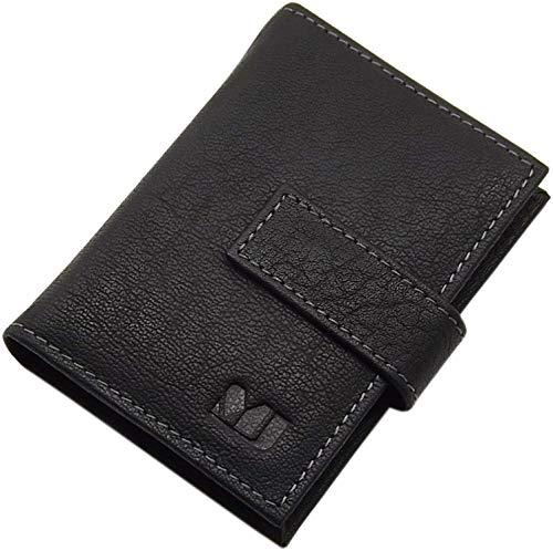 XL Cuero de búfalo Tarjetero para Tarjeta de crédito para un Total de 14 Tarjetas de credito MJ-Design-Germany (Negro)