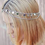 BERYUAN Silver Paillette Sequin Tassel Disk Gypsy Silver Coin Head Chain Trendy Headpiece Bridal Hair Piece For Woman Teens Princess Egyptian Cleopatra Belly Dancer Festival Christmas Wedding Jewelry (Silver)