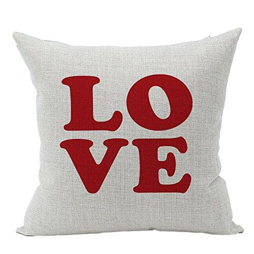 GDBEST Decorative Pillow Cover Love Theme Print Pillow Case Fashion Style Cotton Linen Creative Lovely Square Throw Waist Pillowcase for Sofa Chair Car Seat Home Decor Cushion Cover (18' x 18')