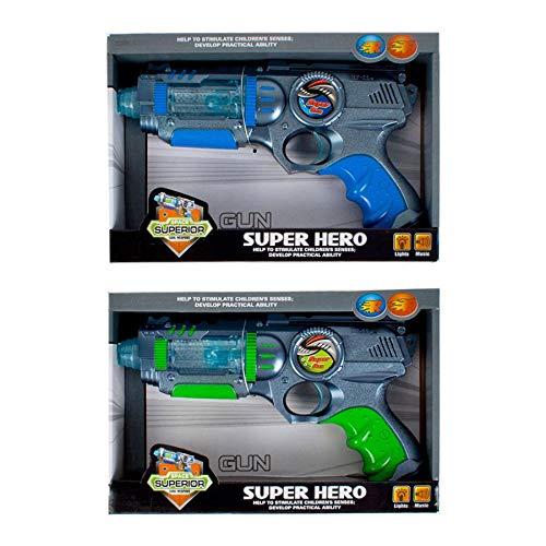 Pistola luci e suoni per bambini - Pistola giocattolo con palline con effetti colorati - Pistola giocattolo - KAMIUSTORE (Blu)