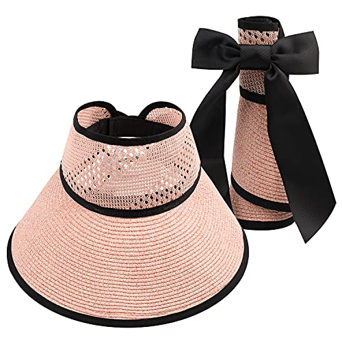 JNUYISW Sombreros con Visera para el Sol para Mujer Paja de ala Ancha enrollada Cola de Caballo Sombrero de Playa de Verano UV Plegable Viaje Plegable