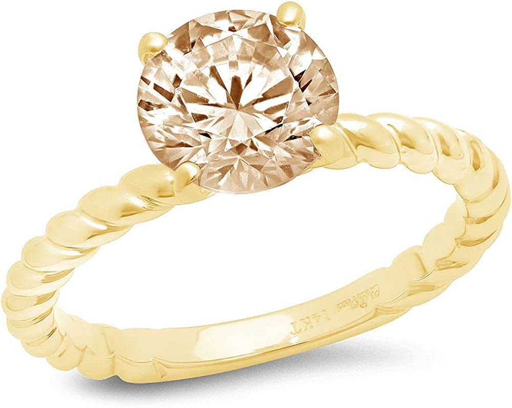 2.05 Round Cut Solitaire Rope Twisted Knot Flawless Genuine Yellow Moissanite CZ 4-Prong Stunning Classic Statement Designer Ring Solid 14k yellow Gold for Women