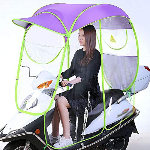 DGSD Universal Bicycle Electric Fully Enclosed Folding Waterproof Umbrella,Sun Shade Rain Cover,Motorcycle Umbrella (for Type with Mirror),Purple