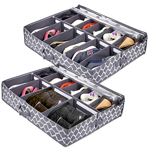 homyfort Under Bed Shoe Storage Organizer with Adjustable Dividers, Shoe Racks Containers for Closets (2 Pack, Fits 24 Pairs Total), 30 x 26 x 6 inches, Zippered Clear Lid, Gray with Printing