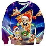 ALISISTER Hässliche Weihnachtspullover Lustige Pizza Katzen Muster Ugly Christmas Sweater Herbst Winter Rundhals Pullover Sweatshirt Top L