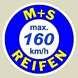 2 x Geschwindigkeitsaufkleber SpeedMax Vmax Aufkleber max. 160 km/h Rund 3cm für Winterreifen , M&S Reifen
