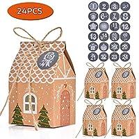 🎄 Include: 24 scatole calendario dell'avvento, 24 adesivi numero calendario dell'Avvento, sufficienti per soddisfare le vostre esigenze per i sacchetti regalo di Natale. 🎄 Materiale: I nostri sacchetti regalo natalizi sono fatti di carta artigianale ...