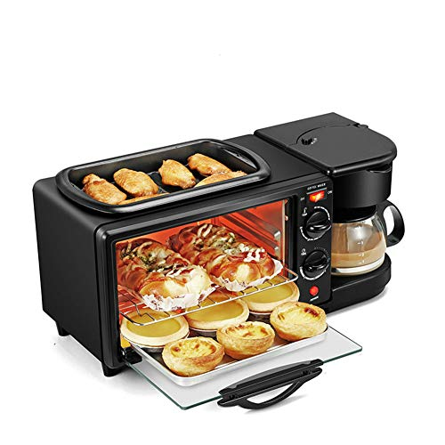 3‑in‑1 Breakfast Machine, Multifunction Oven Breakfast Station Non‑Stick Grill for Home Kitchen Apartment 110V 1050W, 17.3 x 7.9 x 7.9in(US Plug)