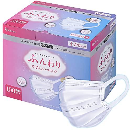 アイリスオーヤマ ふんわり やさしい 不織布 マスク 100枚 小さめ